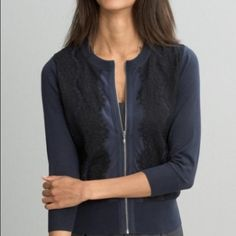 Lace Front Zip Cardigan Casual weekend style meets refined lace in this inventive crew cardigan. 3/4 sleeve Crew neck hits at the hip Worn just a handful of times. Banana Republic Tops