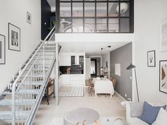 ellopiageenos Mezzanine Bedroom, Bedroom Loft, Home Design, Scandinavian Loft, Blue Wall Colors, Dark Blue Walls, Tall Ceilings, Duplex, Arched Windows