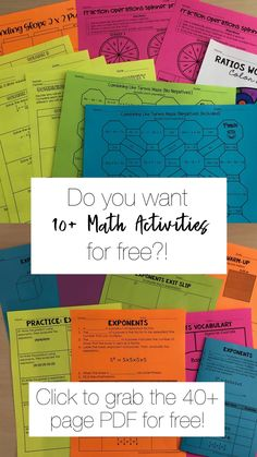 Free low prep math activities- just print and go. Topics include: Solving equations, ratio word problems, fraction operations, combining like terms, slope and exponents High School Activities, Steam Activities, Math Activities, Operations With Fractions, Order Of Operations, Combining Like Terms, Grade 6 Math, Solving Equations, Algebra 2