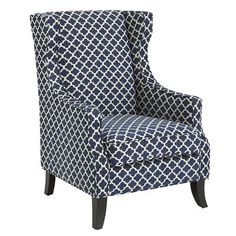Dream Dining Room: A pair of Alec Wing Chairs in Navy Trellis would make dramatic host and hostess chairs in my dream dining room.