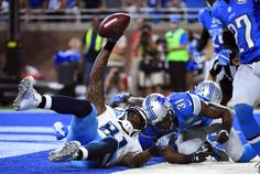 Sep 18, 2016; Detroit, MI, USA; Tennessee Titans wide receiver Andre Johnson (81) scores the game winning touchdown during the fourth quarter against the Detroit Lions at Ford Field. Tennessee won 16-15.  (5076×3402)