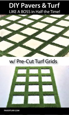 Pre-Cut Synthetic Turf Grids, Squares & Strips PaverTurf makes for easy installs of beautiful artifi Grass Pavers, Paver Walkway, Br House, Artificial Turf, Artificial Grass Ideas, Small Backyard Landscaping, Backyard Pavers, No Grass Backyard, Backyard Makeover