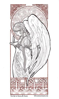 Christmas Angel Line Art by AngelaSasser.deviantart.com on @DeviantArt Download a free coloring book page of this image at the link! http://angelasasser.deviantart.com/art/Christmas-Angel-Line-Art-498749763