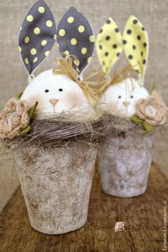 Buy Bunny in a pot - white, bunny, rabbit, rabbit textile, easter Spring Projects, Spring Crafts, Holiday Crafts, Happy Easter, Easter Bunny, Easter Eggs, Easter Traditions, Easter Celebration, Easter Table