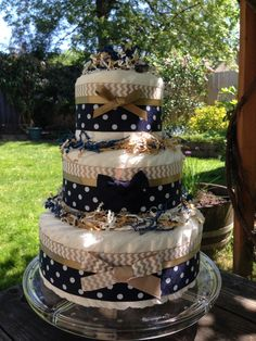 Navy Blue Chevron Baby Diaper Cake for a Baby Boy (Shower Gift/Centerpiece) in Tan, Brown by CheekyDiaperCakes on Etsy