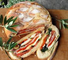 Pan Bagnat ~ A French Picnic Sandwich. Make ahead and eat after setting up.