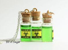 Zombie Virus Miniature Potion Bottle  Necklace