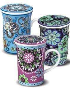 Vera Bradley Cups w/ lids to keep your tea hot then remove the top and place your tea bag on the lid! Cute Coffee Mugs, I Love Coffee, Tea Mugs, My Coffee, Coffee Cups, Pretty Mugs, Cute Cups, My Cup Of Tea, Mug Cup