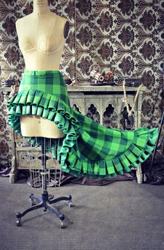 Scandalous Victorian Steampunk Harry Potter Slytherin Green Plaid Ruffle Skirt, making in red and yellow!
