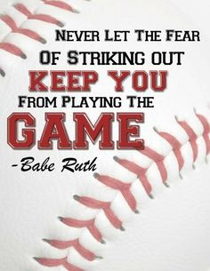 Boy's Print/Room Art/Baseball Art/Don't Let the Fear of stricking out/Babe Ruth on Etsy Softball Quotes, Sport Quotes, Softball Room, Softball Coach, Senior Quotes, Girls Softball, Fastpitch Softball, Erin Wasson, Dodgers