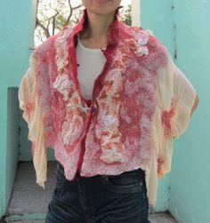 Nuno felt wrap made with merino wool, chiffon, silk and mulkberry silk. By TerrieKwong