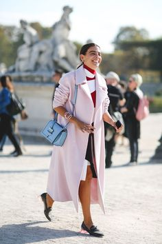 "The Best ""What IS She Wearing?"" Looks From Paris #refinery29  http://www.refinery29.com/2015/10/95202/paris-fashion-week-spring-2016-street-style-pictures#slide-10  Opt for pastel outerwear...."