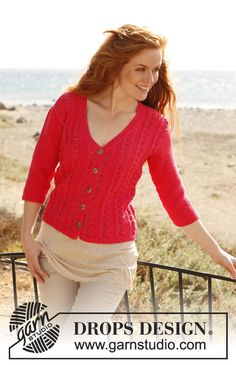 """Knitted DROPS jacket with seed st, ¾ sleeves and lace pattern in """"Muskat"""". Size: S - XXXL ~ DROPS Design"""