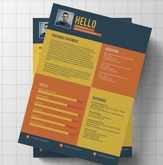 Free Web/Graphic Design Resources Flat Modern Resume / CV Template PSD