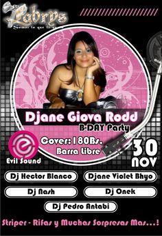 Cumpleaños de Djane Giova Rodd en Labrys, Maracay, Sábado 30