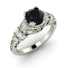 Round Black Diamond  and Diamond  Vintage Ring in 14k White Gold