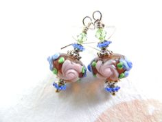 Pink Blue Brown Glass Earrings Lampwork Beaded by AllAboutClass, $26.00