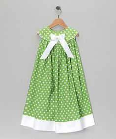 Take a look at this Green Polka Dot Yoke Dress - Infant, Toddler & Girls by Sew Childish on #zulily today!