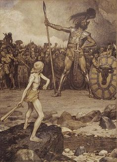 David and Goliath, a colour lithograph by Osmar Schindler (c. 1888) (Wikipedia)