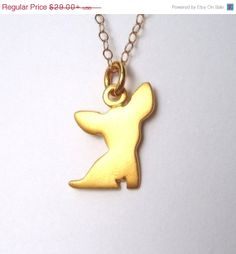 Golden Chihuahua Dog Necklace 24k gold plated sterling silver Chihuahua pendant Dog charm Kids Teen Jewelry Pet Jewelry