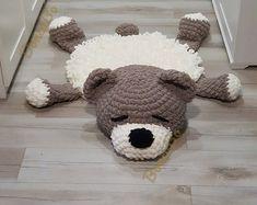 Soft Puppy Dog rug Sleeping bear for children. Сrochet circle | Etsy