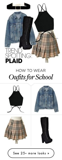 """""""Not-at-school Girl"""" by stylr-is-mi on Polyvore featuring Burberry, Balenciaga, Anissa Kermiche, contestentry and NYFWPlaid"""