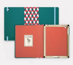 Teal with cubes spine + coral interior. Starting at $89. #iPadCase
