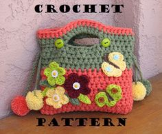 Girls Bag / Purse with Flowers Butterfly and Pom Pom, Crochet Pattern PDF,Easy, Great for Beginners,  Pattern No. 9 von EvasStudio auf Etsy https://www.etsy.com/de/listing/95319217/girls-bag-purse-with-flowers-butterfly