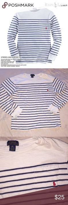 Polo Ralph Lauren Boys Striped Tee Polo Ralph Lauren boys striped long sleeve shirt, size medium in boys, really nice quality shirt, no flaws, would be so cute with cargo pants! ALL prices are negotiable on my shop❗️I accept ALL reasonable offers❗️❗️ Polo by Ralph Lauren Shirts & Tops Tees - Long Sleeve