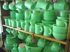 "The Anchor Hocking Company produced Fire-King, a type of glassware that could withstand the high temperatures of ovens and stoves. ""Jade-ite"" was one of their most popular colors."