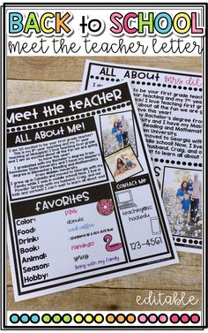 Back to School Meet the Teacher Letter! Editable letter for you to introduce yourself to your students at the beginning of the year!