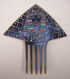 Art Deco Vintage Hair Comb Egyptian Revival with Figural Face and Multi from spanishcomb on Ruby Lane