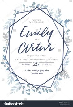 Wedding invite, invitation, save the date card design with light watercolor blue color dusty leaves, fern greenery forest herbs, plants & geometric frame. Vector tender rustic postcard editable layout