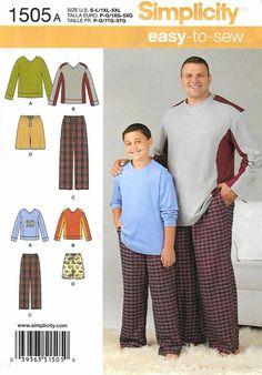 5e5e55ff8a Simplicity Sewing Pattern 1505 Boys Men s Sizes S-L 1XL-5XL Easy Pants  Shorts Knit Tops