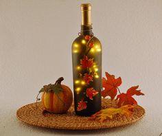 Autumn leaves wine bottle lamp  hand by LightBottlesByVicki, $28.00