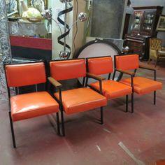Beau SOLD Vintage Mid Century Modern Set Of 4 Orange Dining #chairs Circa 1960  Orange