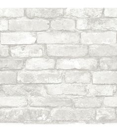 WallPops® NuWallpaper™ Gray and White Brick Peel And Stick Wallpaper