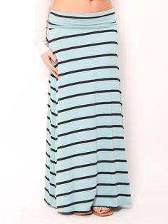 #Mint Striped Maxi Skirt