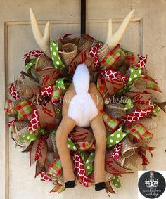 Burlap Christmas wreath burlap wreath reindeer Rudolph deco burlap mesh reindeer booty