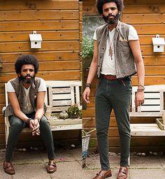 Vintage Diy Tweed Vest, Pierre Carden Diy Dark Green, Vintage Store Vintage Brown Belt, H T Shirt, Afro Wooden, Van Haren Diy Flats