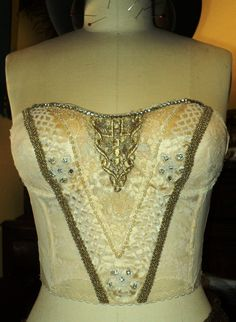 Antique Bridal Bustier Wedding Corset Cream by Bellasoiree on Etsy
