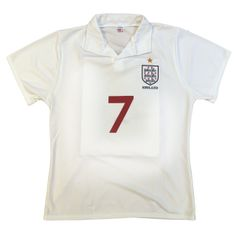 England World Cup Nostalgia Beckham Mens' Football Top White/Red S - Xl Price: £3.00