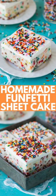 Homemade funfetti sheet cake recipe that bakes in 40 minutes! Makes a 9x13 inch cake that has amazing flavor and is loaded with sprinkles!