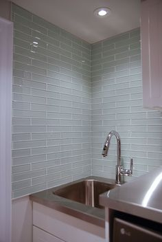 Glass Tile Laundry Room Backsplash