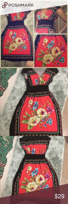 Spanish Style En Focus Dress Be vibrant and beautiful in this stretchy, Spanish style, brown and salmon summer dress! 🌼 Dresses Midi