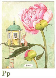 Majas Alfabet P - Pion - Swedish postcard by Lena Anderson Art And Illustration, Elsa Beskow, Naive Art, Fairy Land, Whimsical Art, Faeries, Architecture Art, Flower Art, Design Art