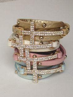 Studded Crystal Cross Wrap
