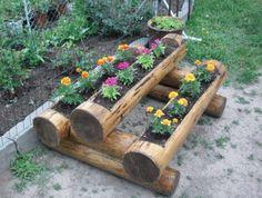 20 sjarmerende DIY-log-ideer Ta rustikk dekor til hjemmet ditt Log Planter, Diy Hanging Planter, Planters, Planter Ideas, Diy Garden Decor, Garden Art, Garden Decorations, Balcony Decoration, Big Garden
