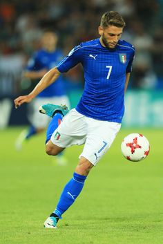 Domenico Berardi of Italy in action during the 2017 UEFA European Under-21 Championship Group C match between Italy and Germany at Stadion Cracovia on June 24, 2017 in Krakow, Poland.