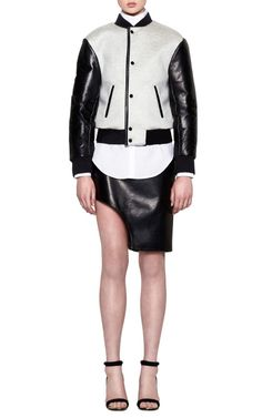 Grey And Black Track Baseball Jacket by Josh Goot for Preorder on Moda Operandi